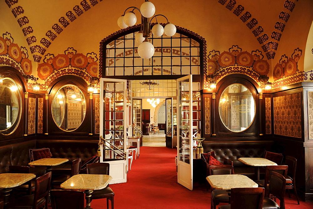 Kawiarnia Noworolski, deserted cafe at cloth halls Sukiennice, Krakow, Poland, Europe