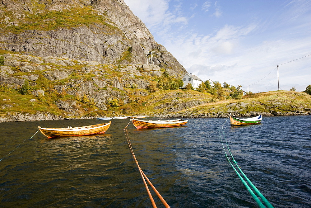 Rowing boats on a lake, Lofoten, Norway, Scandinavia, Europe