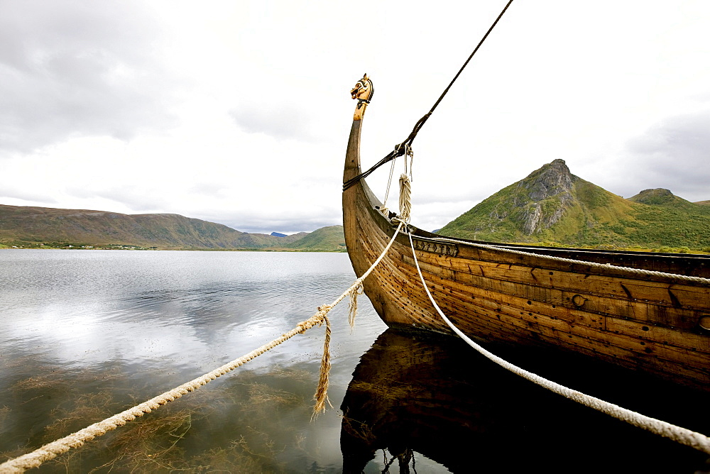 Viking ship on a lake, viking museum, Borge, Lofoten, Norway, Scandinavia, Europe