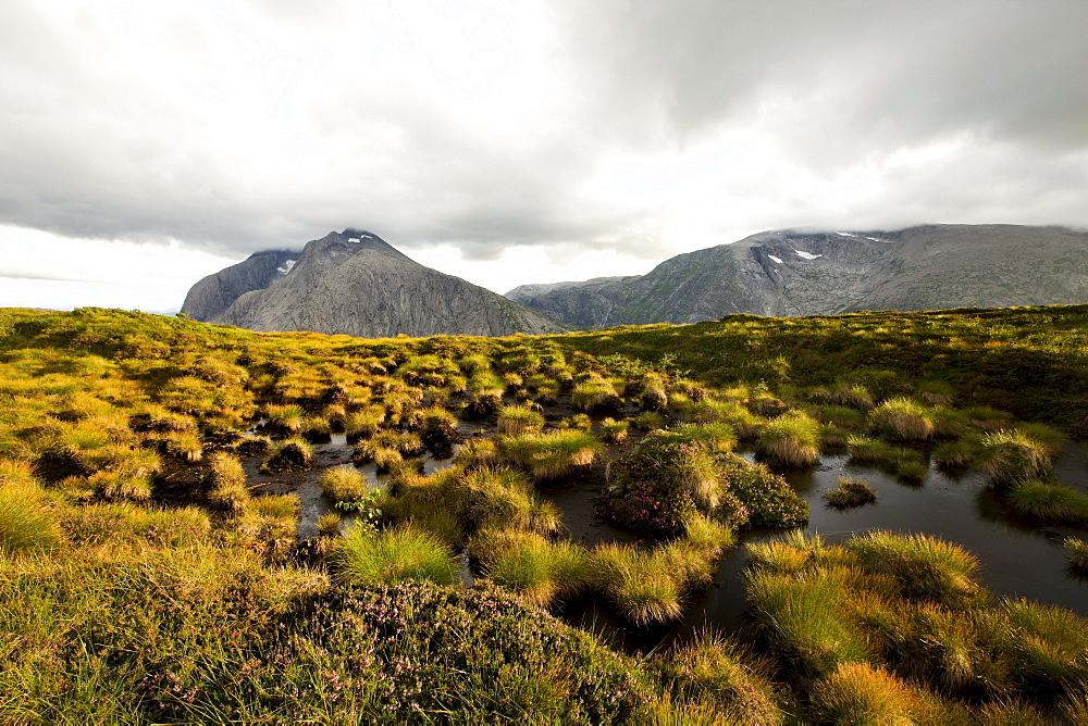 Fjell landscape at Folgefonn peninsula under clouded sky, Kvinnherad, Hordaland, Norway, Scandinavia, Europe