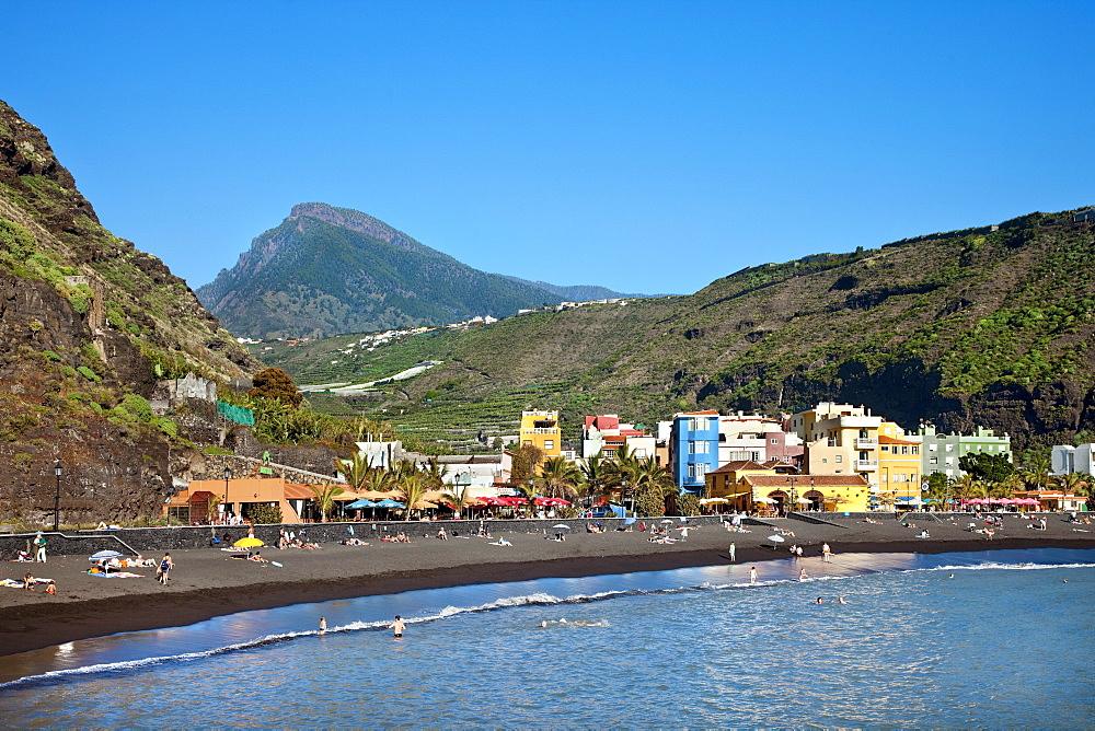 Coastal town Puerto Tazacorte under blue sky, Caldera de Taburiente, La Palma, Canary Islands, Spain, Europe