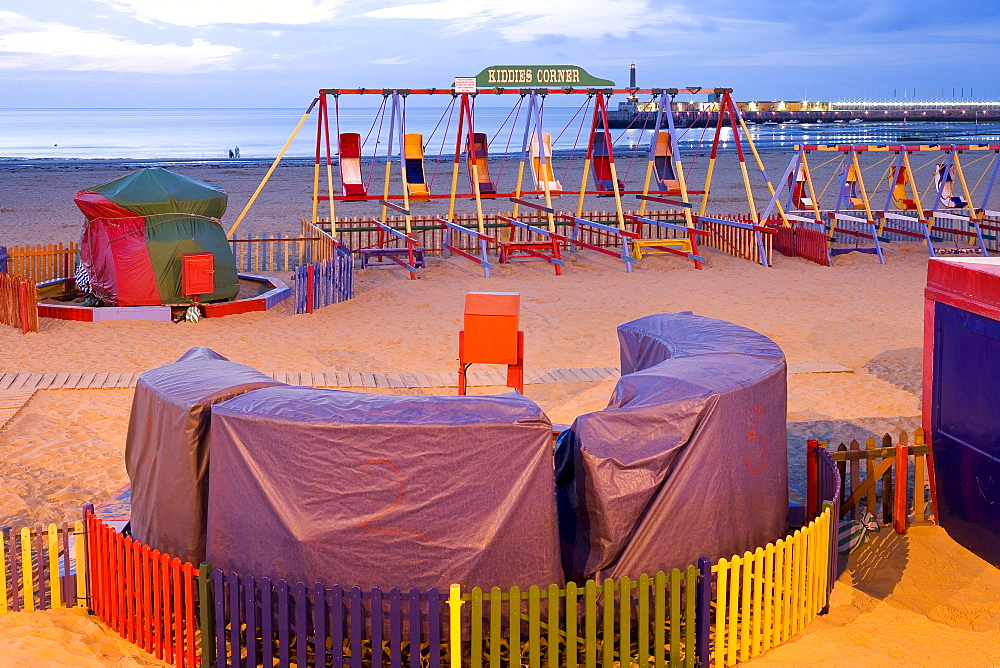 Childrens play area on the beach at Margate, Kent, England, Great Britain, Europe