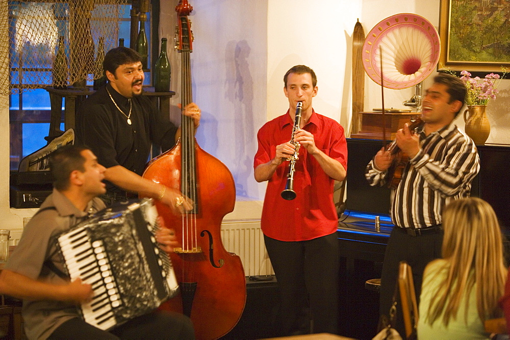 Band playing music in Krumlovsky mlyn, Cesky Krumlov, South Bohemian Region, Czech Republic