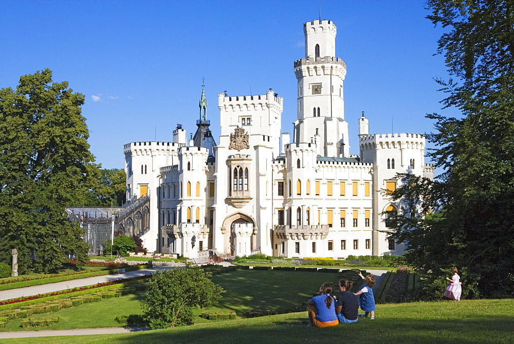 Castle Hlubotka na Vltavou in tudor gothic style is one of the most beautiful castles of the Czech republic, South Bohemia, Sumava, Czech republic