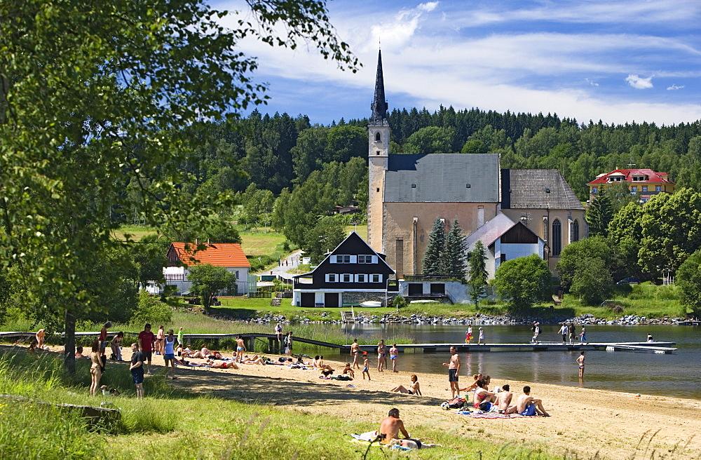 Predni Vyton, beach at Lipno dam, South Bohemia, Sumava, Czech republic