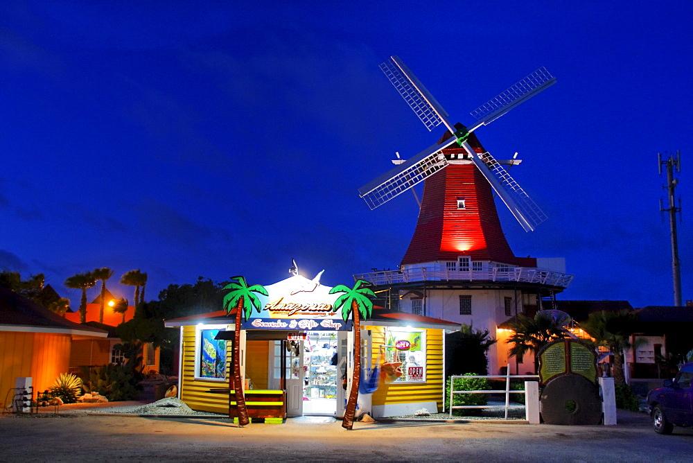 West Indies, Aruba, The Mill, dutch wind mill, De Olde Molen at twilight