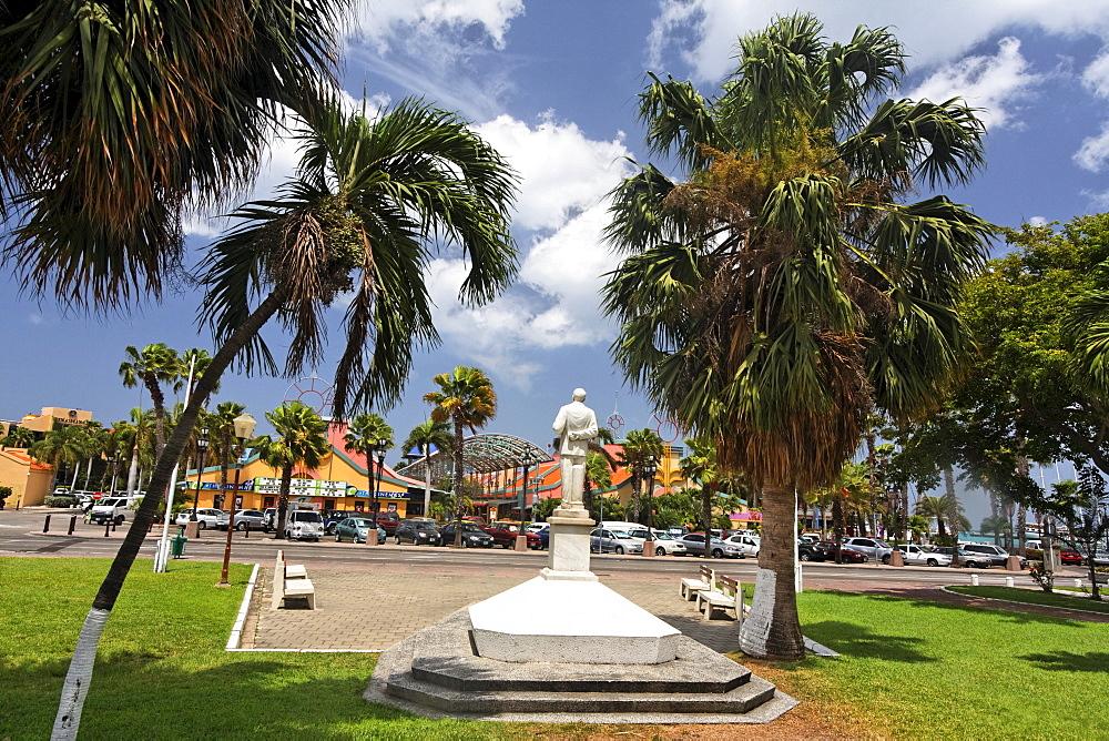 West Indies, Aruba, Oranjestadt, Statue of Jan Hendrik Albert Henny Eman
