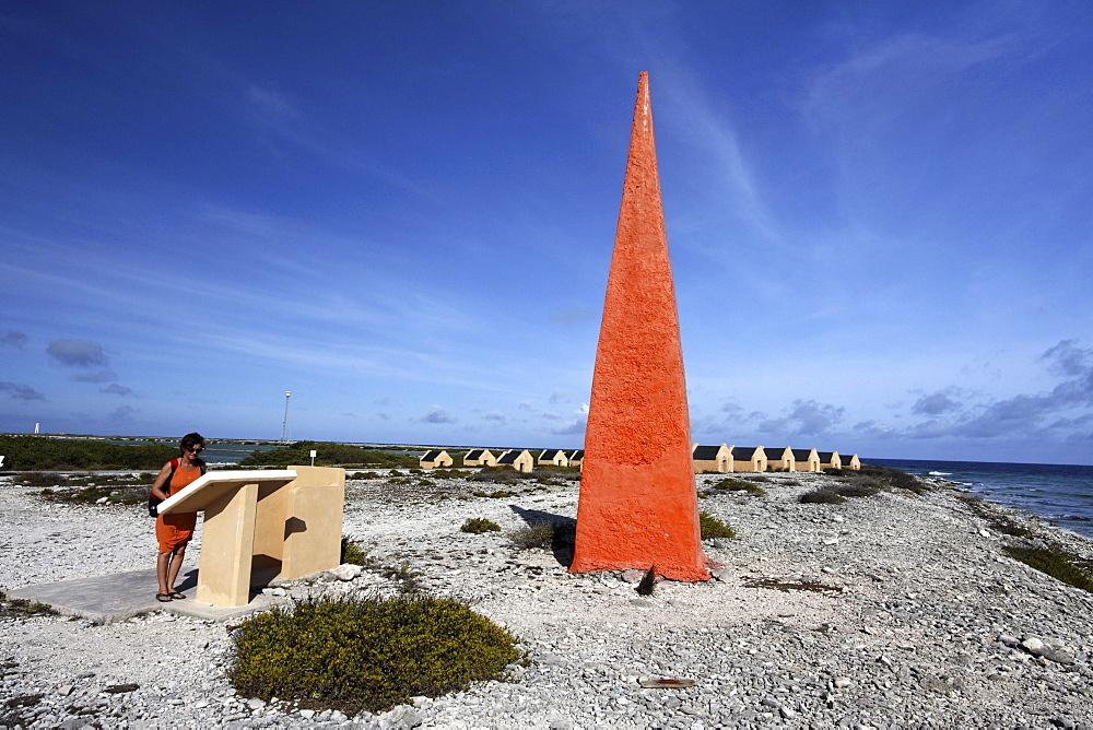 West Indies, Bonaire, Orange Obelisk, slave huts, historic landmark