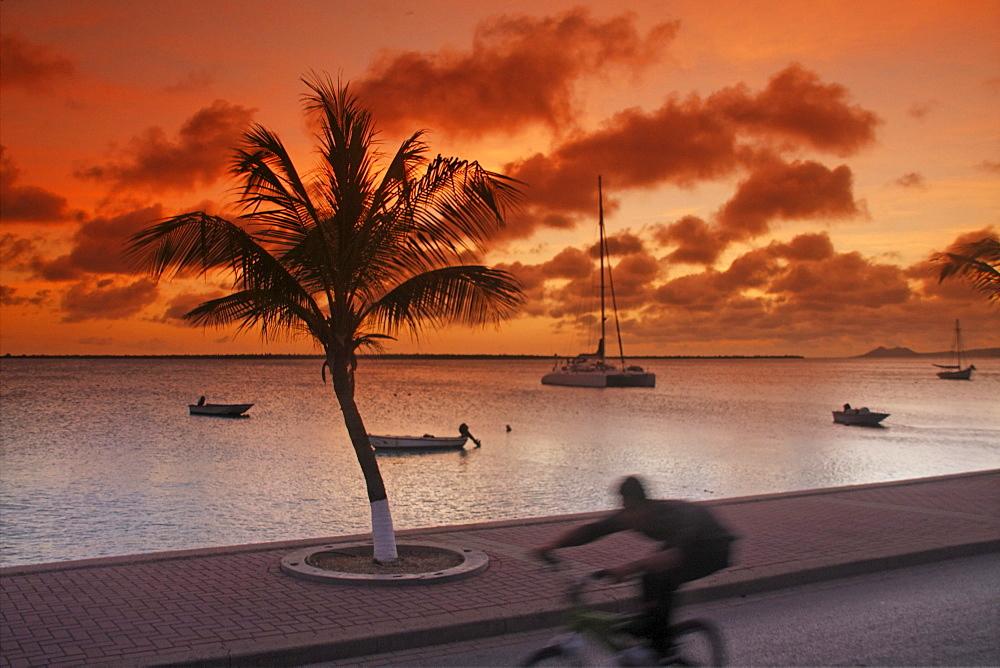 West Indies, Bonaire, Kralendijk, sunset