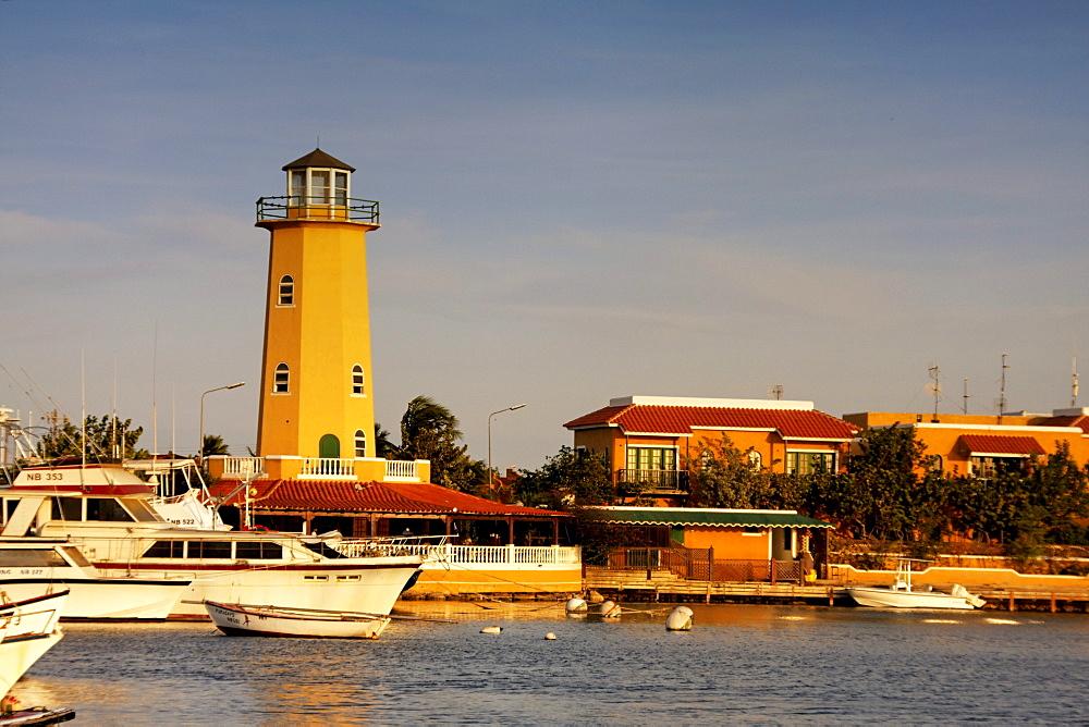 West Indies, Bonaire, Kralendijk, lighthouse at little yacht harbour