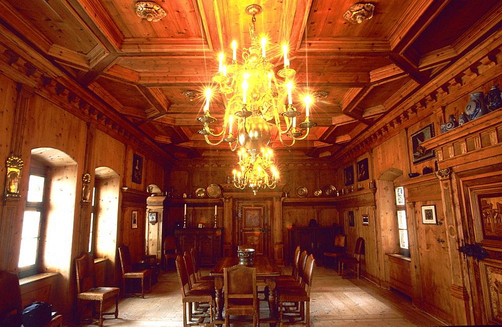 Room inside Tarasp Castle, Lower Engadine, Engadine, Switzerland