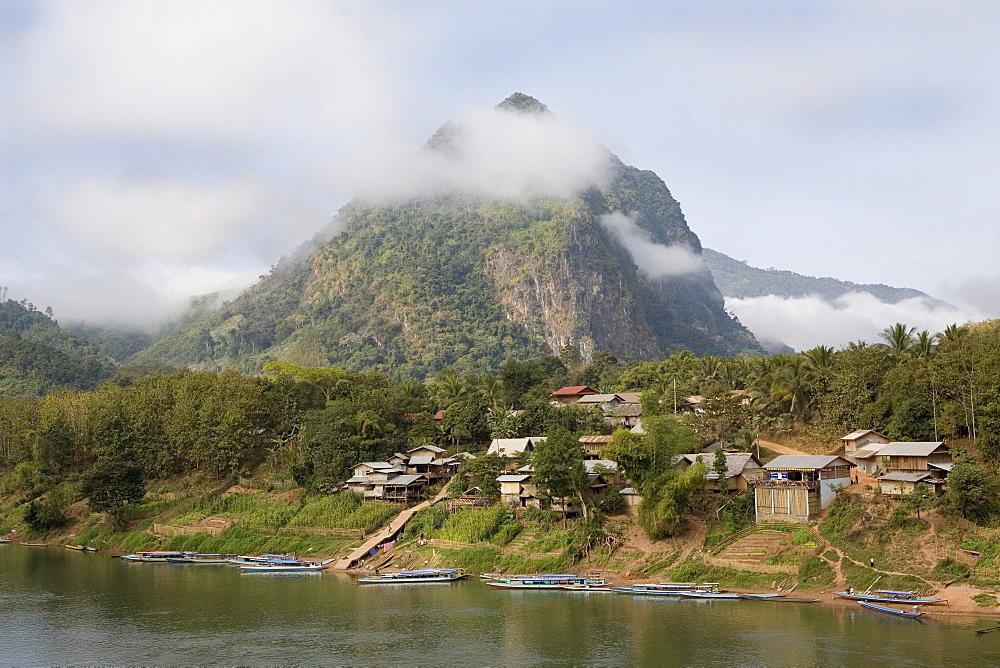 View at the village Nong Kiao at the river Nam Ou, Luang Prabang province, Laos