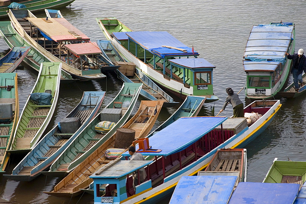 Colourful boats on the river Nam Ou, Luang Prabang province, Laos