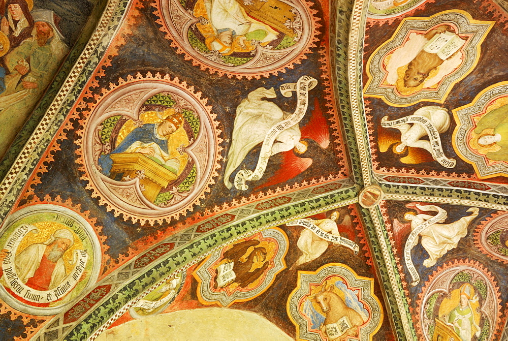 painting on ceiling of cloister at cathedral of Brixen, cross-coat, ribbed vault, Gothik, Brixen, valley of Eisack, South Tyrol, Italy