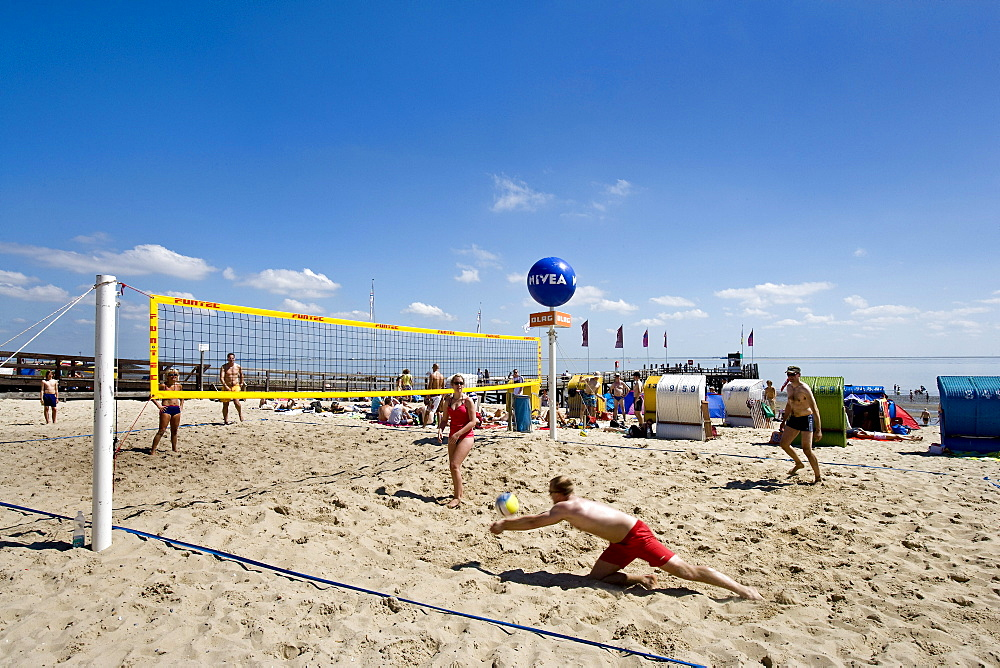 Beach Volleyball, Wyk, Foehr Island, North Frisian Islands, Schleswig-Holstein, Germany