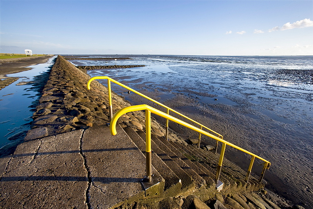 Stairs, Mudflat, Hamburger Hallig, North Frisian Islands, Schleswig-Holstein, Germany