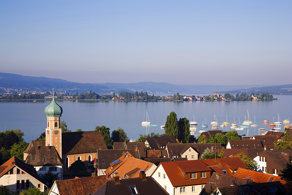 View over Allensbach to Reichenau island, Baden-Wurttemberg, Germany