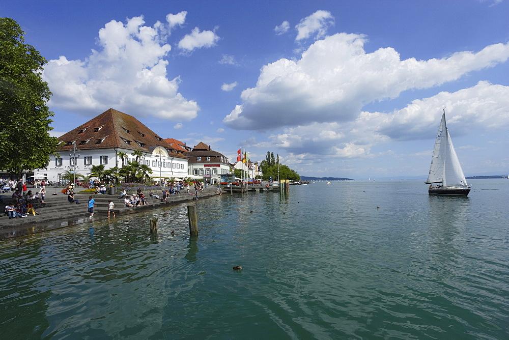 Sailing boat on Lake Constance, Uberlingen, Baden-Wurttemberg, Germany