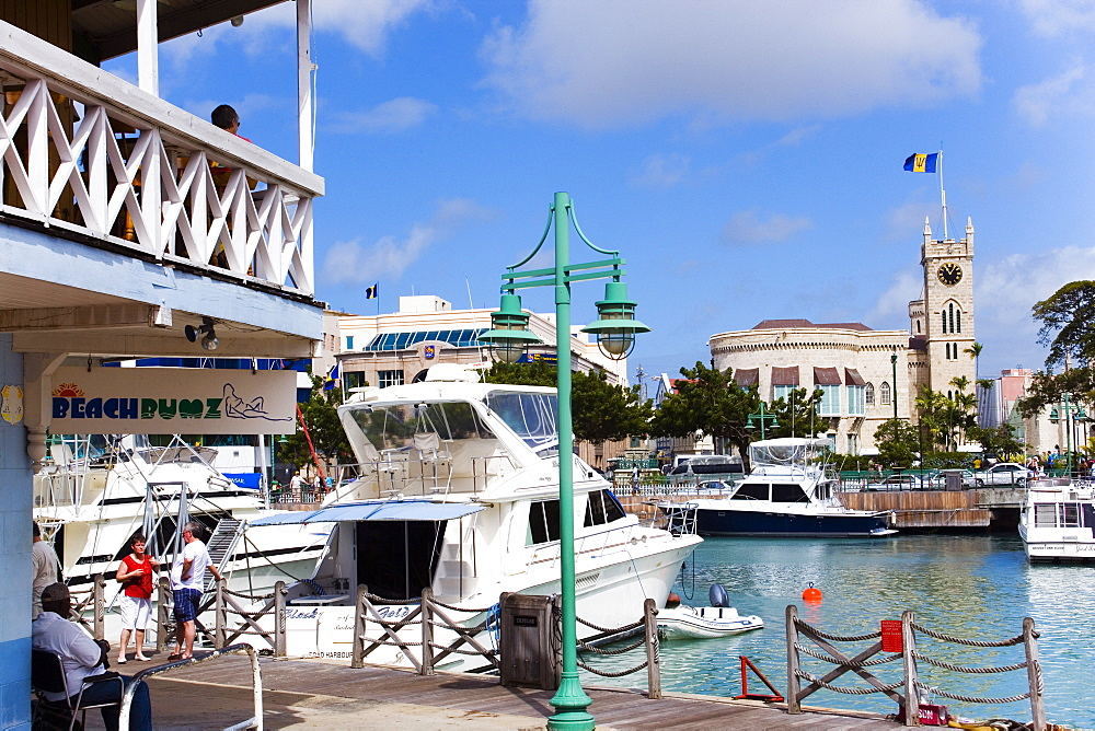 View over marina to parliament building and Waterfront Cafe, Bridgetown, Barbados, Caribbean