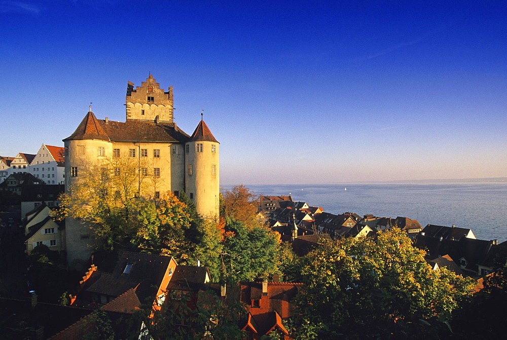 Rooftops of the Old Town and the Old Castle under blue sky, Meersburg, Lake Constance, Baden Wurttemberg, Germany