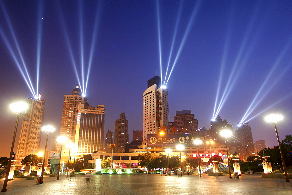 Festive floodlights on skyscrapers illuminate the sky at the port of Chongqing, China, Asia - 1113-21649