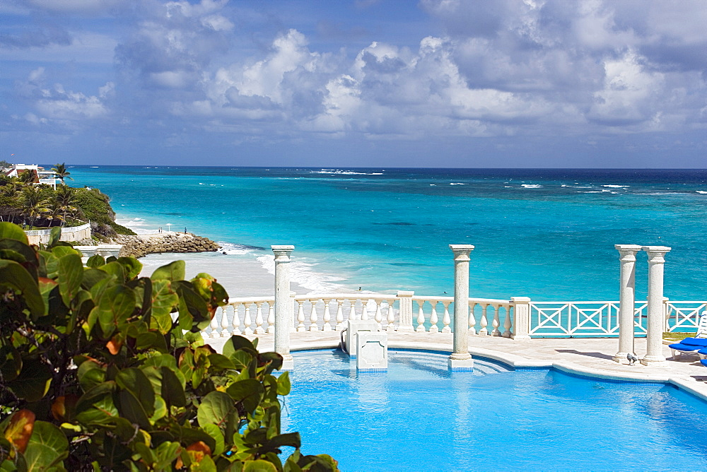 Swimming pool of the Crane Hotel, Atlantic Ocean in background, Barbados, Caribbean