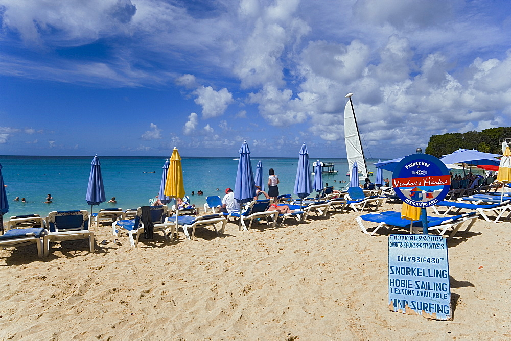 People relaxing at beach, Paynes Bay, Barbados, Caribbean