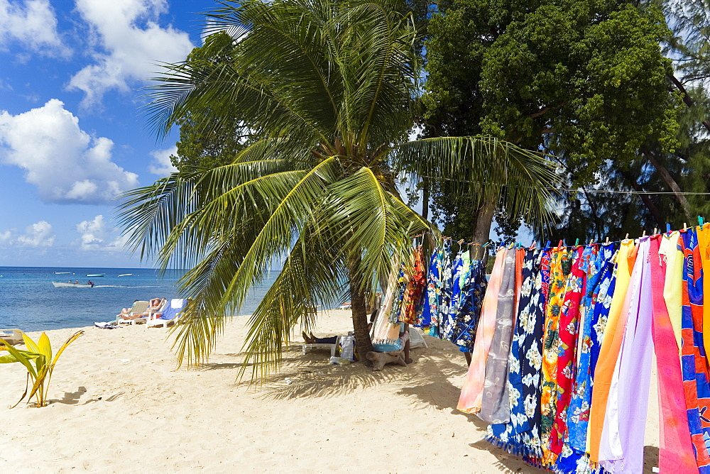 Souvenir stall at beach, Speightstown, Barbados, Caribbean