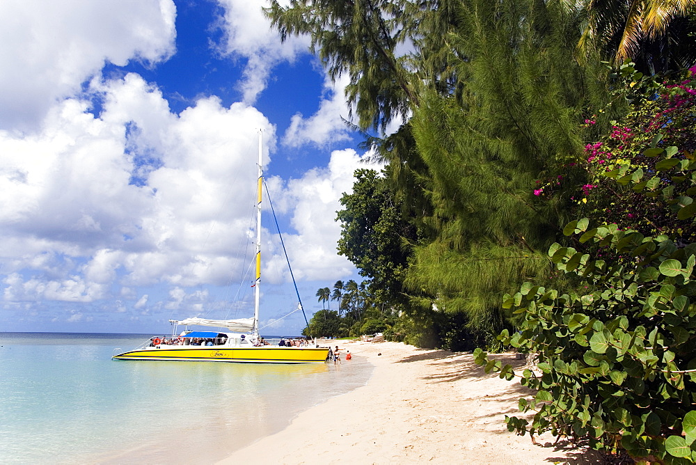 People entering a catamaran, Mullins Bay, Speightstown, Barbados, Caribbean