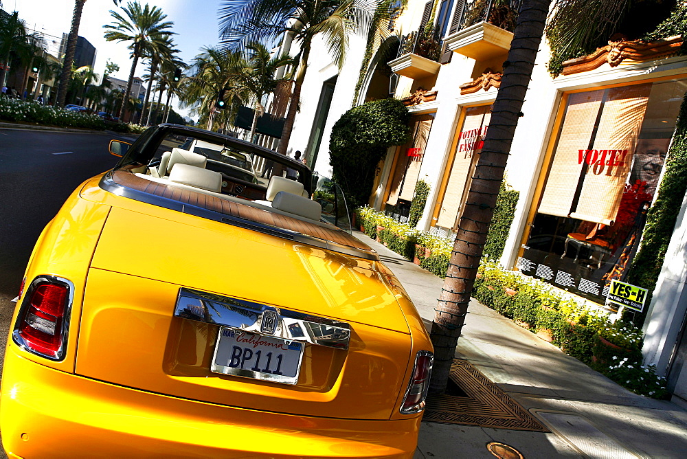 Convertible car parked on Rodeo Drive, Beverly Hills, Los Angeles, California, USA, United States of America