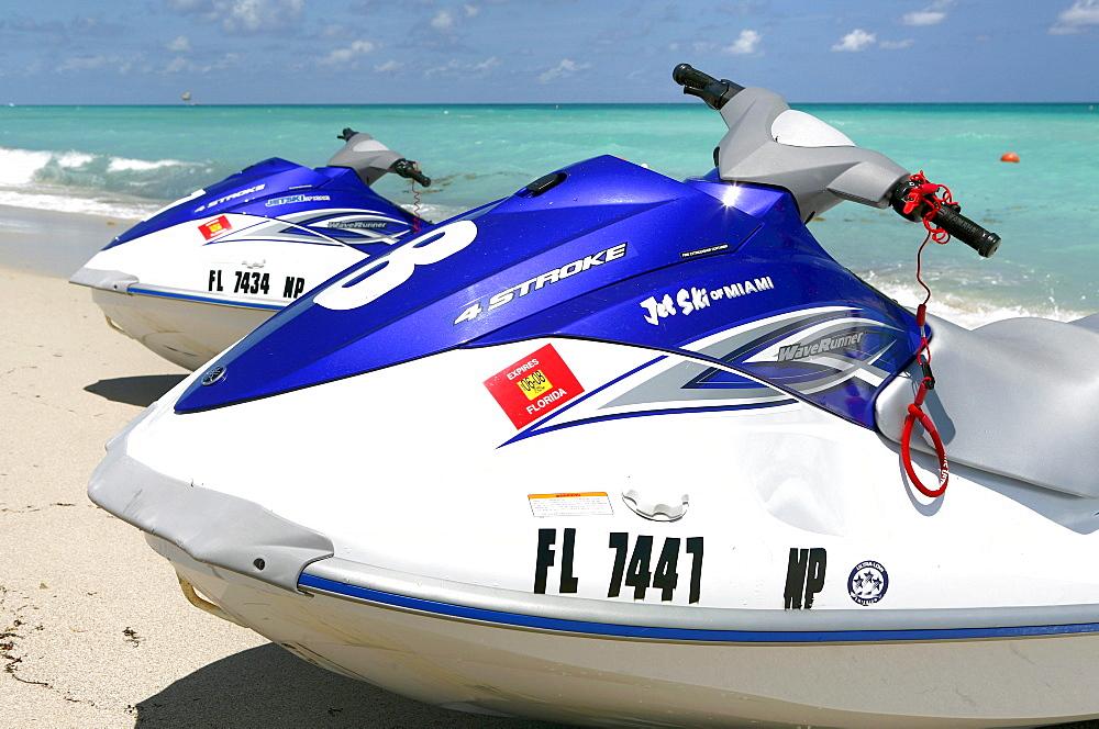 Jetskis on the beach in the sunlight, South Beach, Miami Beach, Florida, USA - 1113-23052