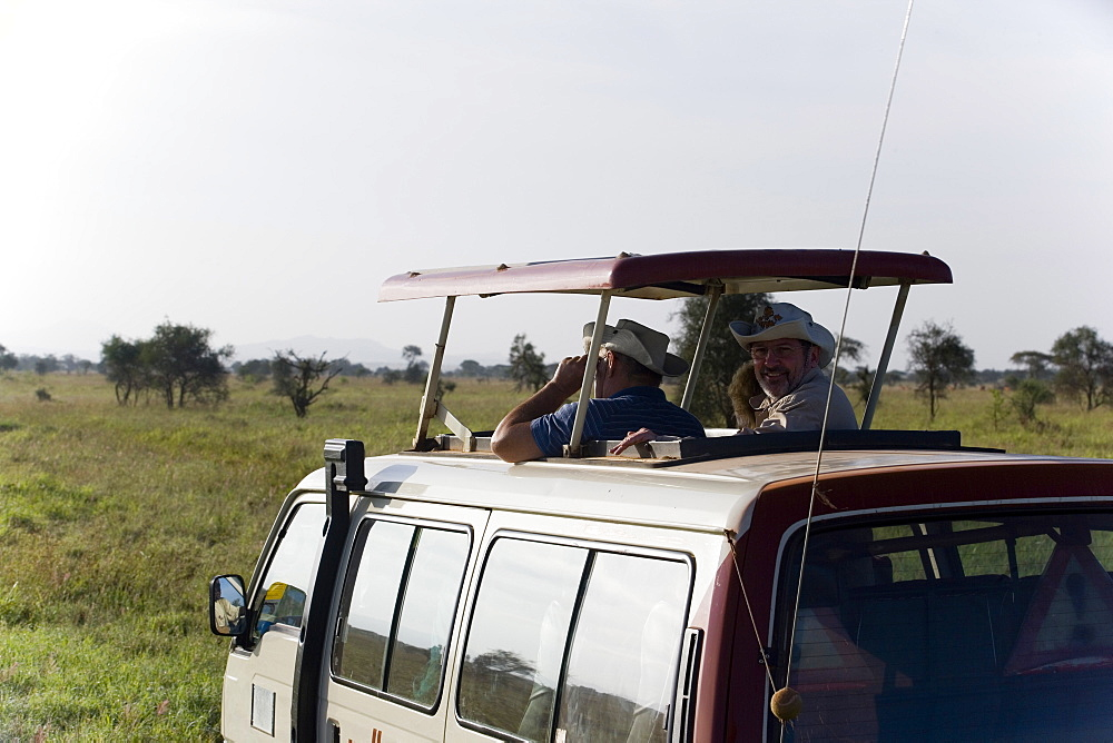 Tourists having a safari tour, Taita Hills Game Reserve, Coast, Kenya