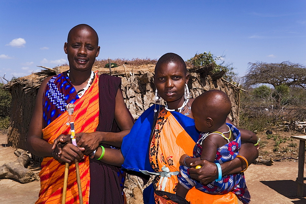 Portrait of a Maasai family, Coast, Kenya