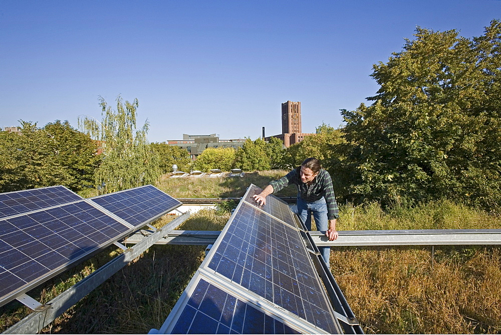 greened roof with solar panels, UFA, International Center for Culture and Ecology, Berlin