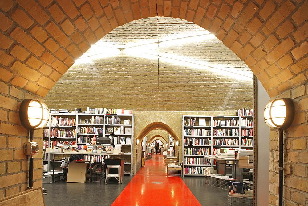 Interior view of the deserted bookshop Buecherbogen below the S-Bahn, square Savignyplatz, Berlin, Germany, Europe