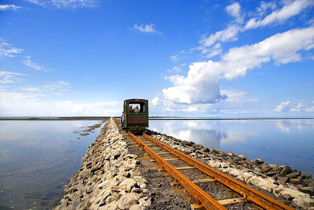 Narrow gauge railway to Nordstrandischmoor hallig, North Frisian Islands, Schleswig-Holstein, Germany