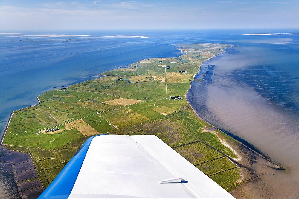 Aerial shot of Langeness hallig, North Frisian Islands, Schleswig-Holstein, Germany