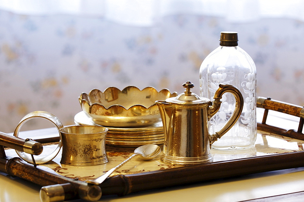 Tray with silverware and bottle, Villa Hermes, Seis am Schlern, South Tyrol, Italy