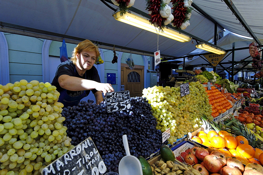 Vendor at her market stand, Bozen, South Tyrol, Italy, Europe