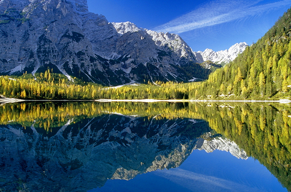 lake with reflection, Lago di Braies, Dolomite Alps, South Tyrol, Italy