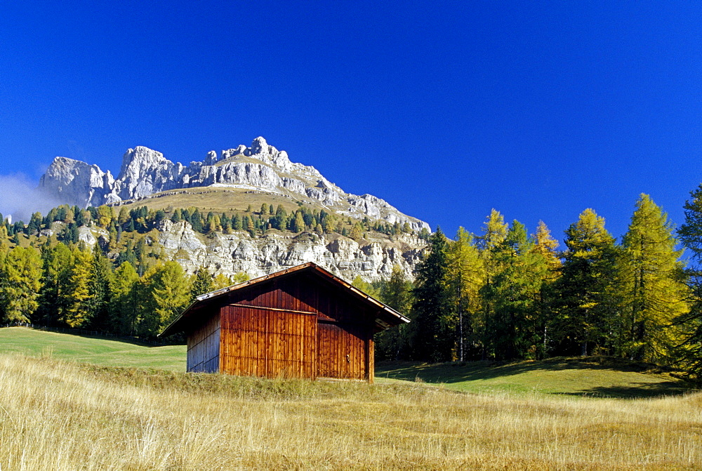 Alpine hut at Passo di Costalunga, Dolomite Alps, South Tyrol, Italy