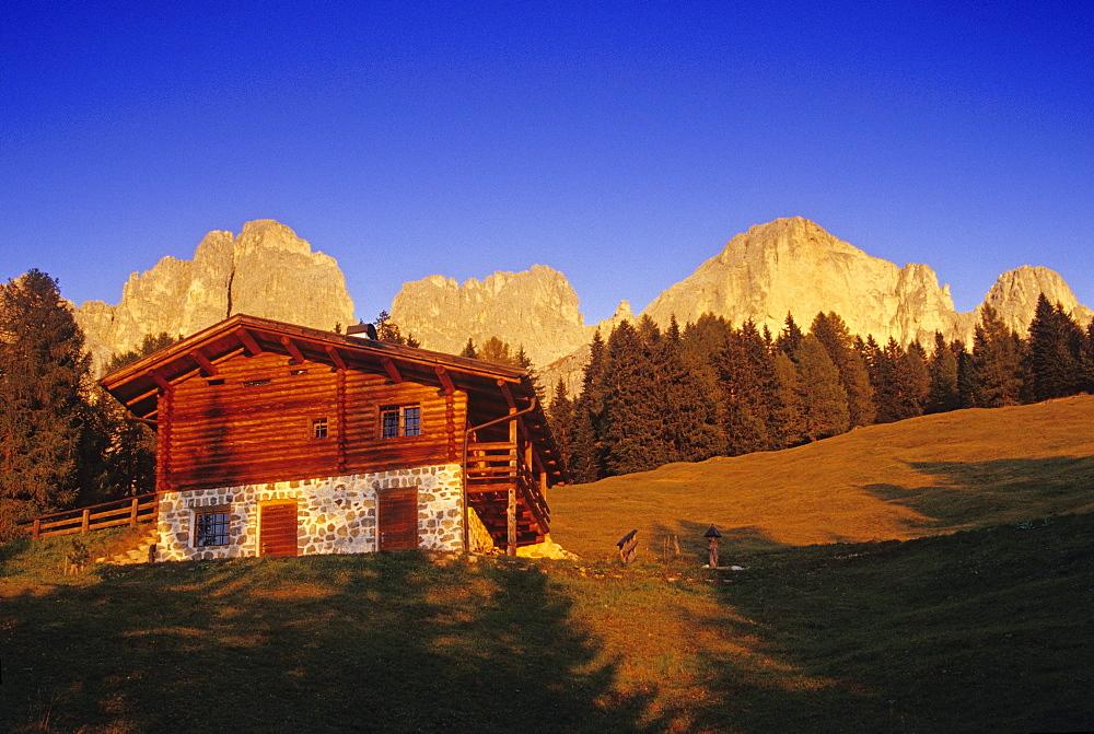 Alpine hut at Cima Catinaccio, Dolomite Alps, South Tyrol, Italy