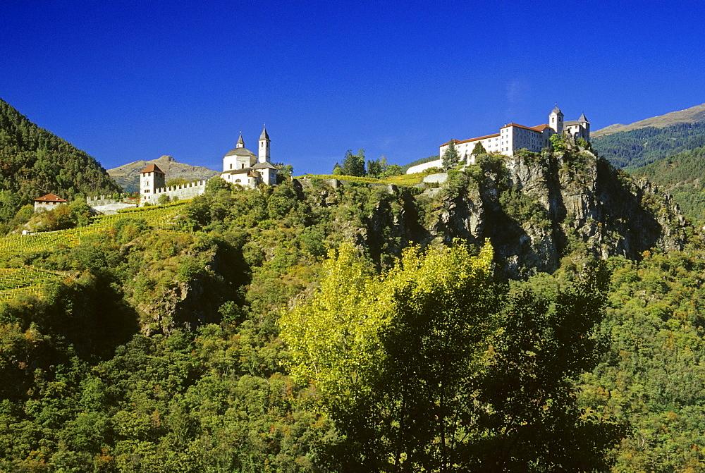 Sabiona monastery, near Chiusa, Valle Isarco, Dolomite Alps, South Tyrol, Italy