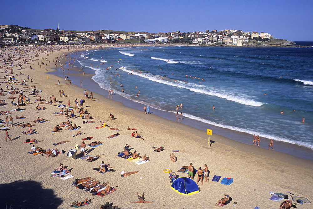 Sunbathers on Bondi Beach, Sydney, New South Wales, Australia