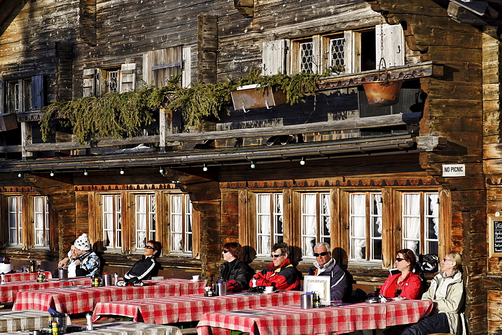 Terrace of Horneggli mountain restaurant, Schoenried, Gstaad, Bernese Oberland, Canton of Berne, Switzerland