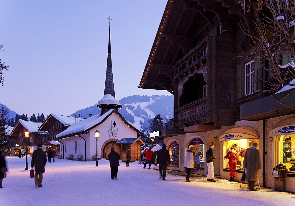 View along promenade, Gstaad, Bernese Oberland, Canton of Berne, Switzerland