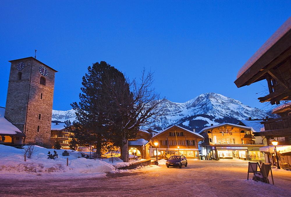 Adelboden at night, Bernese Oberland, Canton of Berne, Switzerland