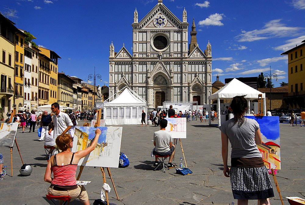 Painting class in front of Santa Croce church under blue sky, Florence, Tuscany, Italy, Europe