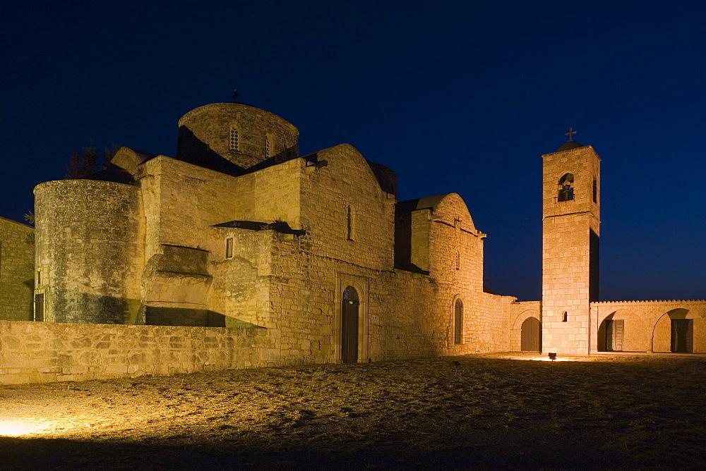 Agios Varnavas, former St. Barnabas Monastery at night, museum, Salamis, North Cyprus, Cyprus