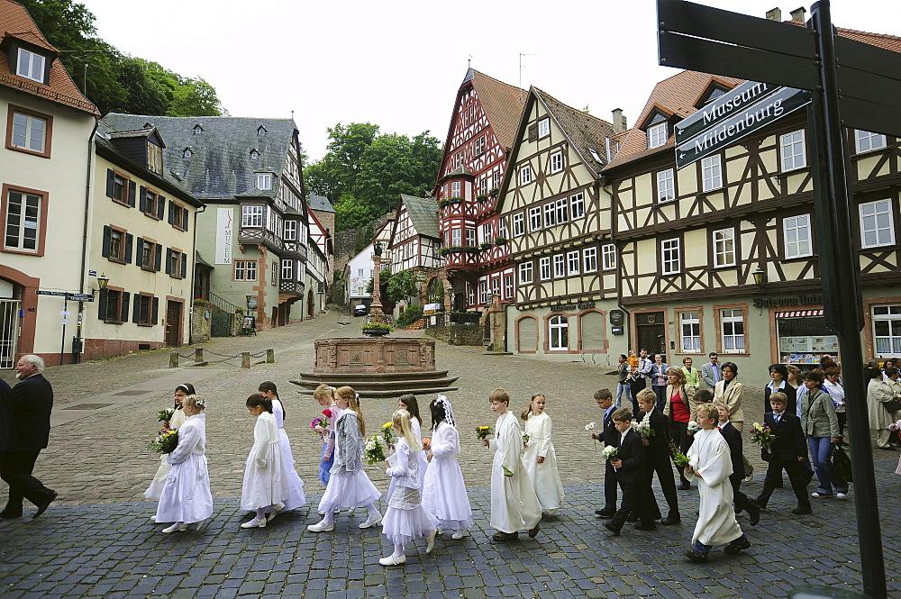 Corpus Christi procession, Miltenberg, Spessart, Lower Franconia, Bavaria, Germany